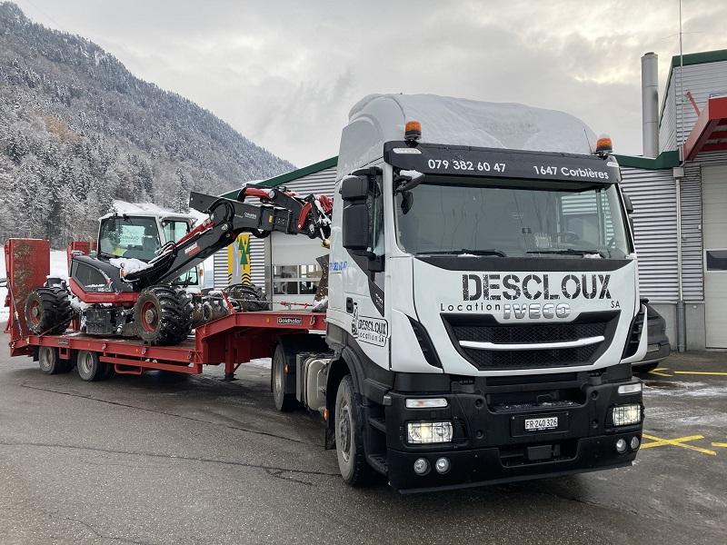 Transport machines chantier suisse